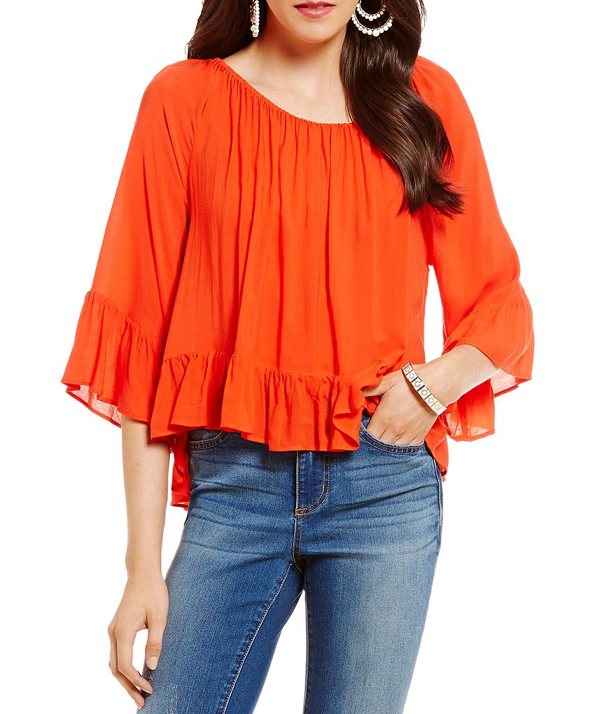 Copper Key Ruffle Cropped Peasant Top