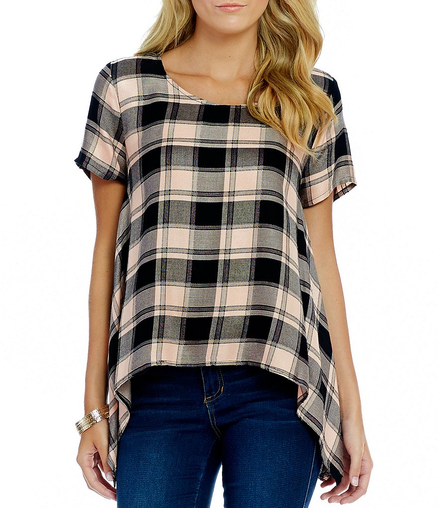 Copper Key Buffalo Plaid Short Sleeve Sharkbite Hem Tee