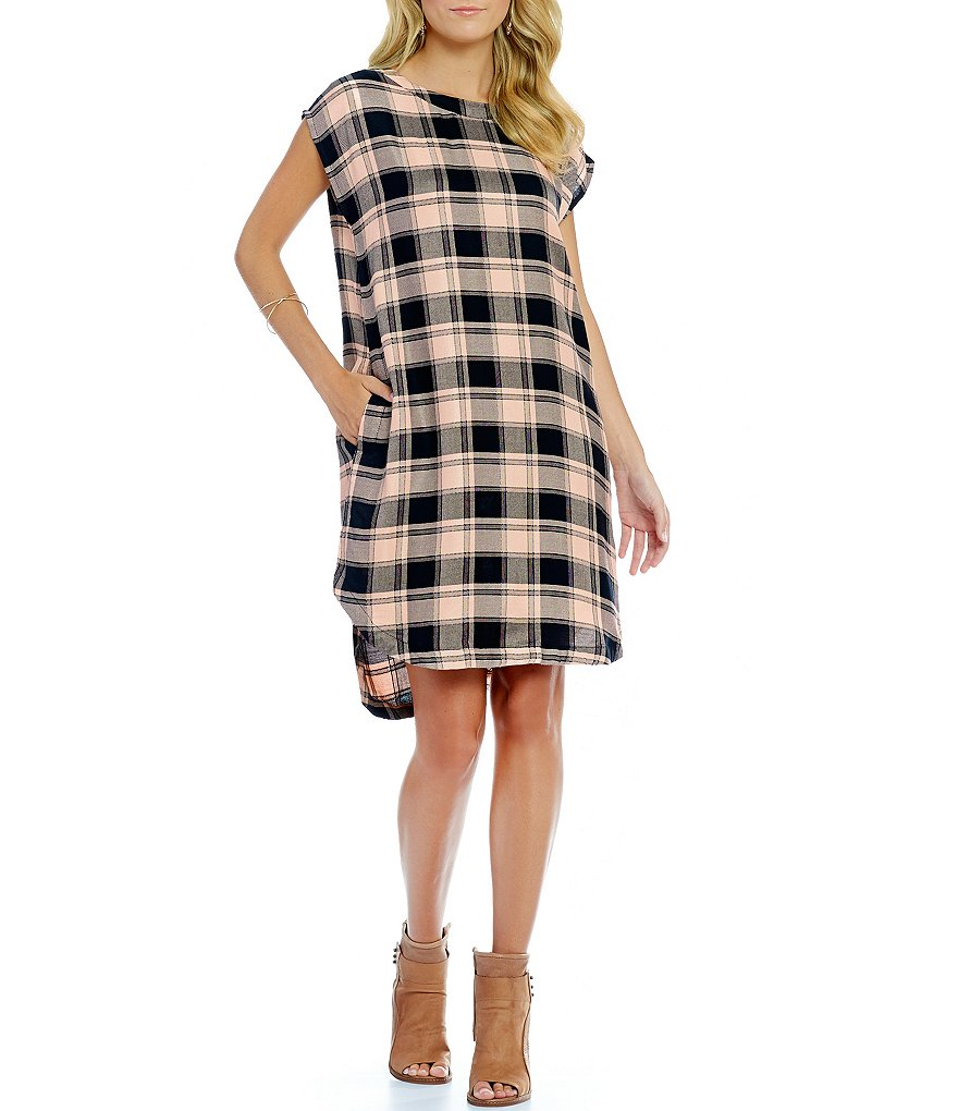 Copper Key Buffalo Plaid Shift Dress