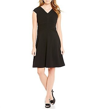 Alex Marie Birdie A-Line Cap Sleeve Solid Bi-Stretch Dress