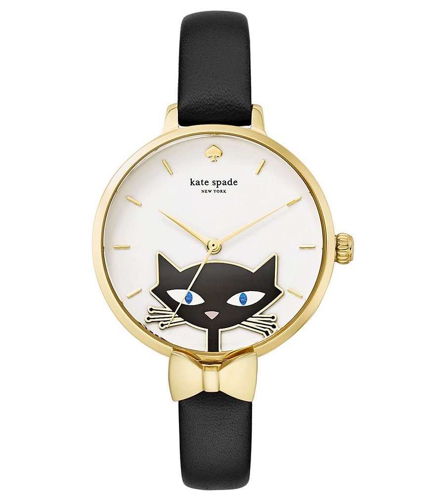 kate spade new york Metro Cat & Bow Analog Leather-Strap Watch