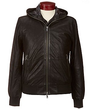 John Varvatos Star USA Leather Bomber Jacket