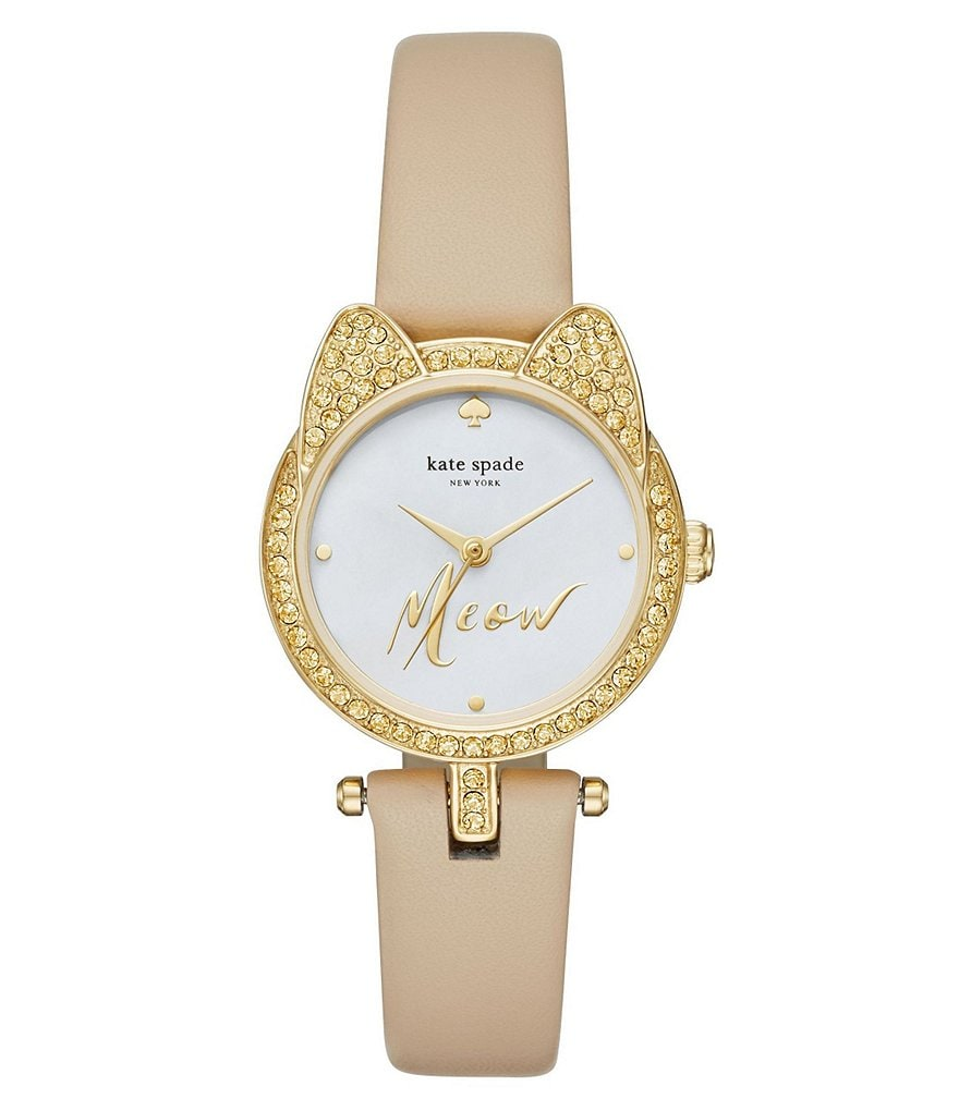 kate spade new york Pavé Crystal & Mother-of-Pearl Cat Analog Leather-Strap Watch