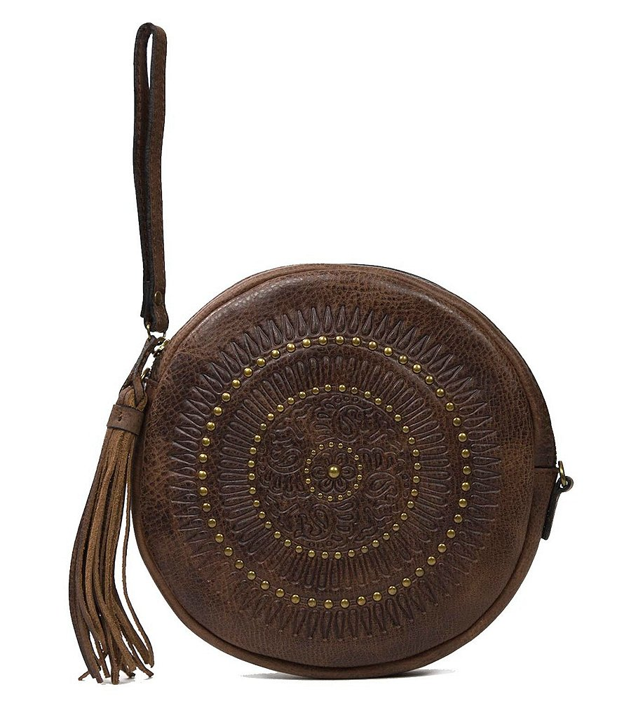 Patricia Nash Distressed Vintage Collection Giovanna Tasseled Studded Convertible Round Wristlet