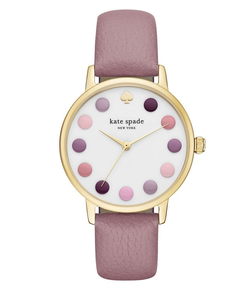kate spade new york Metro Dot Analog Leather-Strap Watch