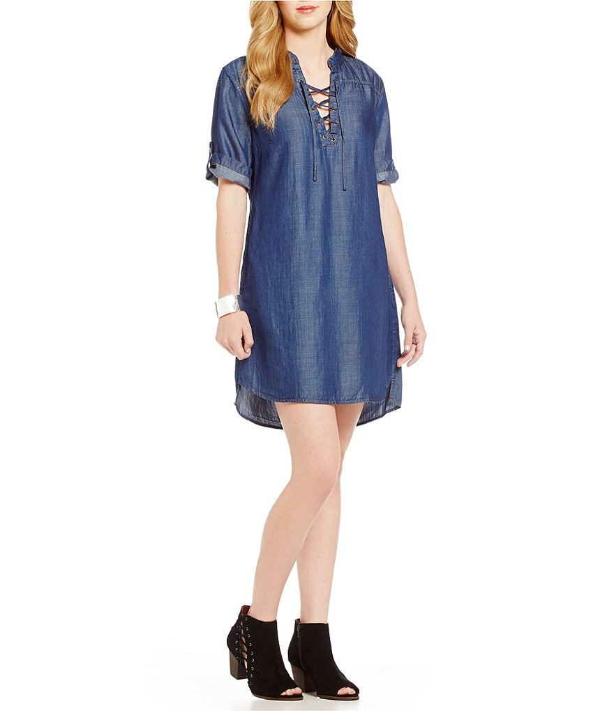 Chelsea & Theodore V-Neck Short Sleeve Lace up Tencel Dress