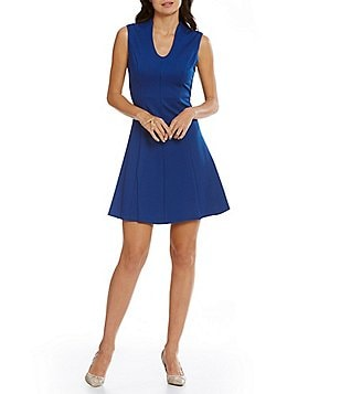 Adrianna Papell Petite Split Neck Fit-and-Flare Dress