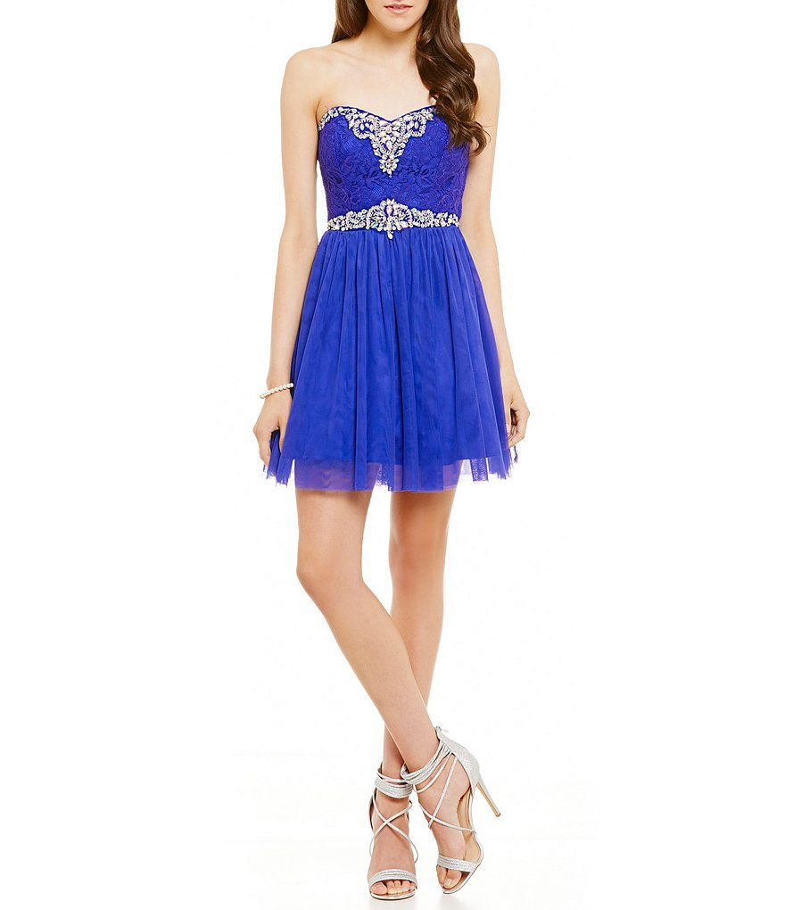 Masquerade Strapless Beaded Trim Lace-Up Back A-line Party Dress