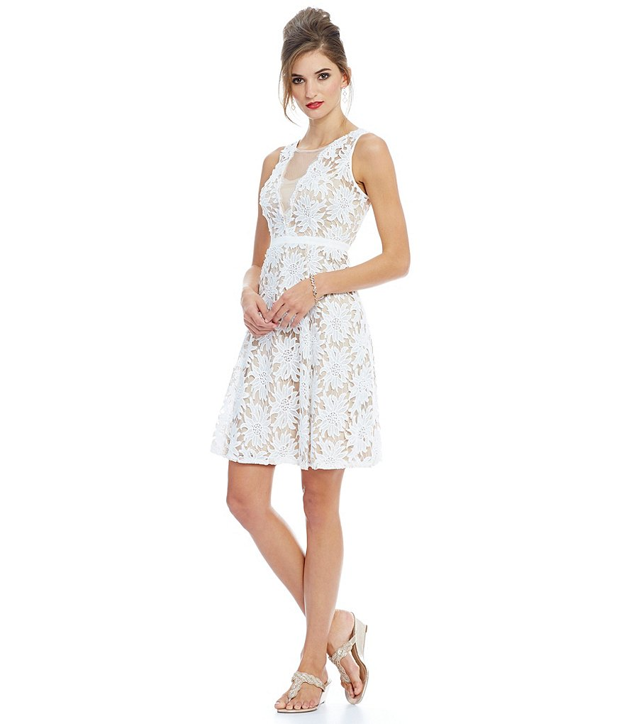 Adrianna Papell Petite Illusion Floral Lace A-Line Dress