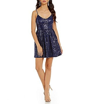 devlin Annabelle Fit-and-Flare Sequin Sleeveless Dress