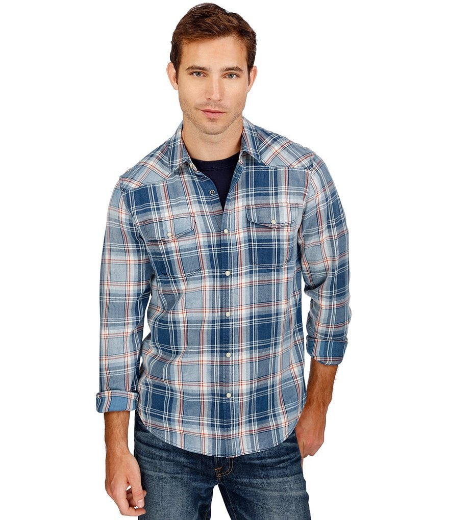 Lucky Brand Indigo Plaid Western Shirt