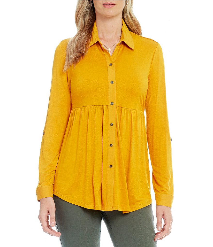 Westbound Babydoll Seamed Button Front Top