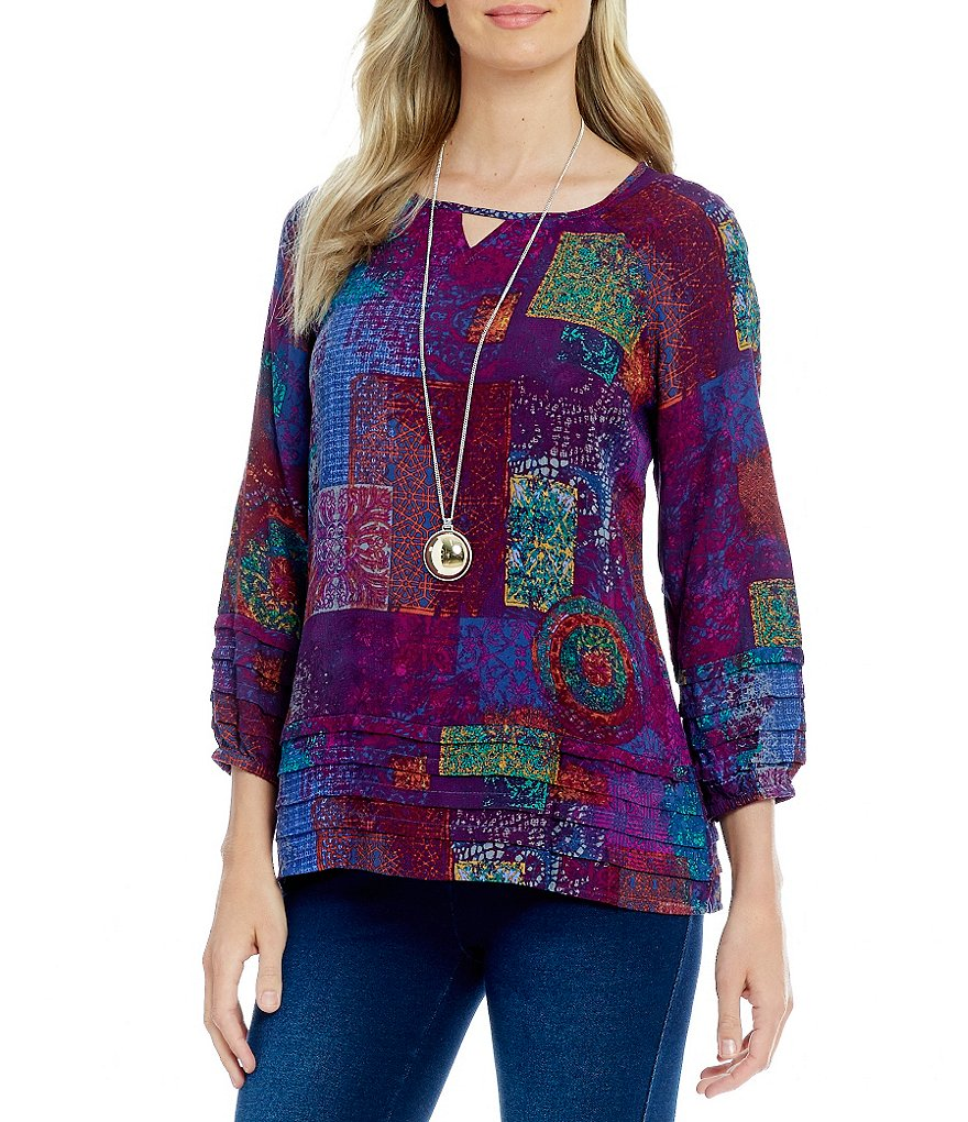 Westbound Tiered Peasant Keyhole Printed Jacquard Top