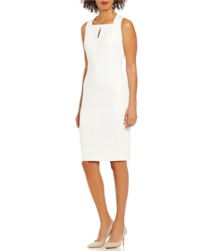 Calvin Klein Keyhole Neck Crepe Solid Scuba Sheath Dress