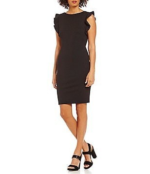 Calvin Klein Round Neck Flutter Sleeve Sheath Dress