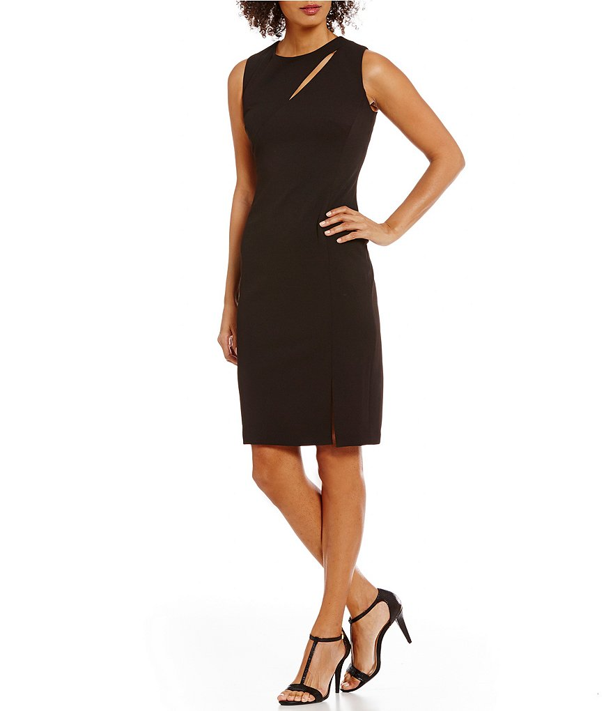 Calvin Klein Sleeveless Front Slit Solid Sheath Dress