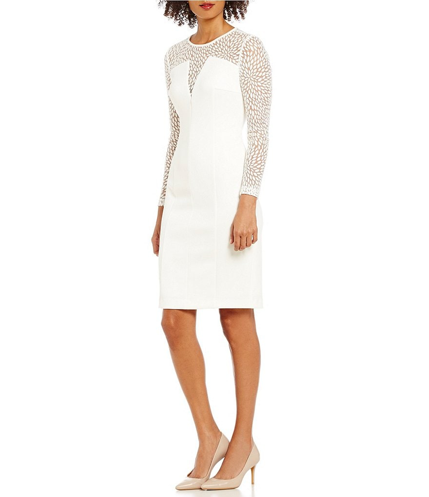 Calvin Klein V-Neck Illusion Sleeve Solid Sheath Dress