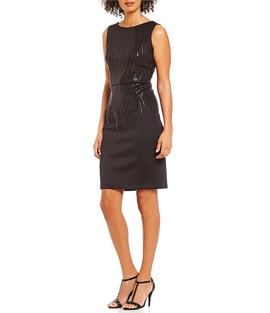 Calvin Klein Sleeveless Sequined Scuba Sheath Dress