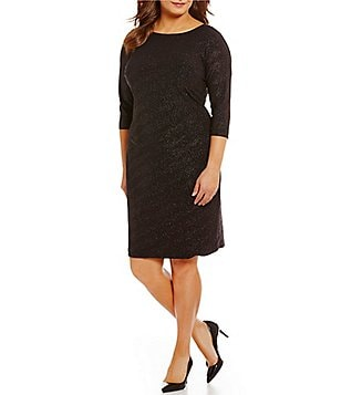 Calvin Klein Plus Round Neck 3/4 Sleeve Glitter Sheath Dress