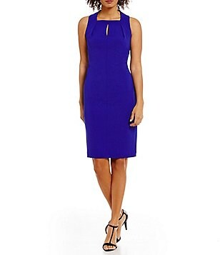 Calvin Klein Petite Keyhole Square-Neck Crepe Sleeveless Sheath Dress