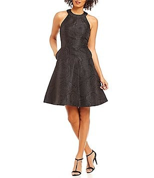 Calvin Klein Petite Round Neck Jacquard Fit-And-Flare Dress