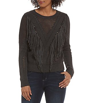 Chelsea & Theodore Crew Neck Long Sleeve Pointelle Fringe Sweater