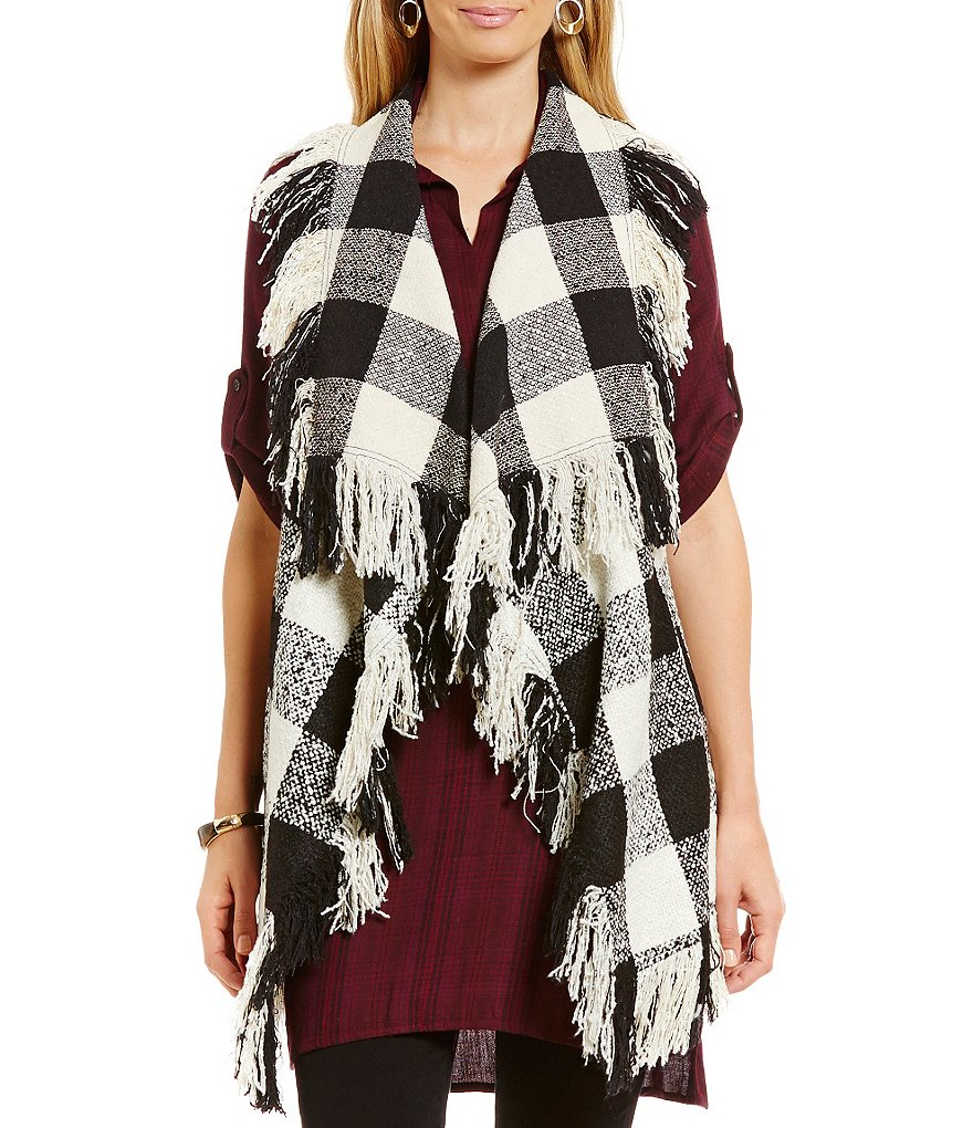 Chelsea & Theodore Plaid Vest with Fringe
