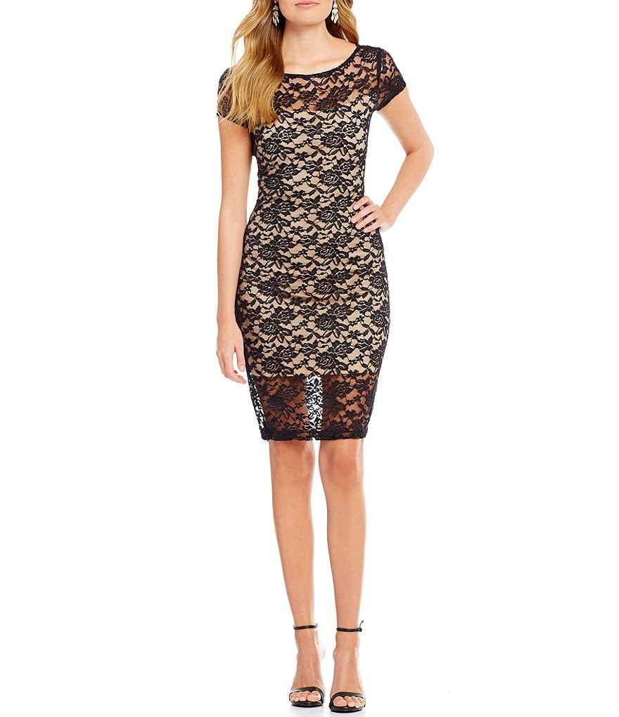 B. Darlin Cap Sleeve Two-Tone Lace Sheath Dress