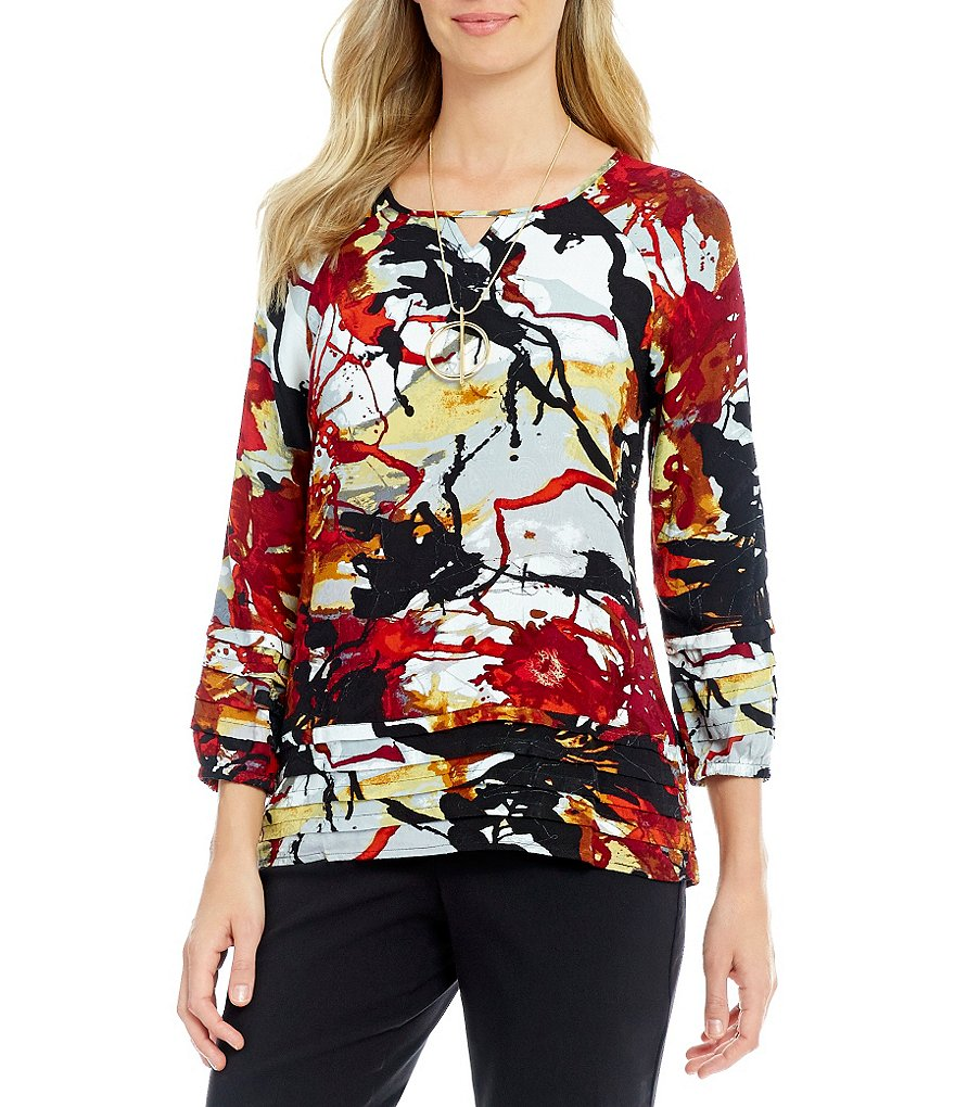 Westbound Petites Tiered 3/4 Sleeve Peasant Top