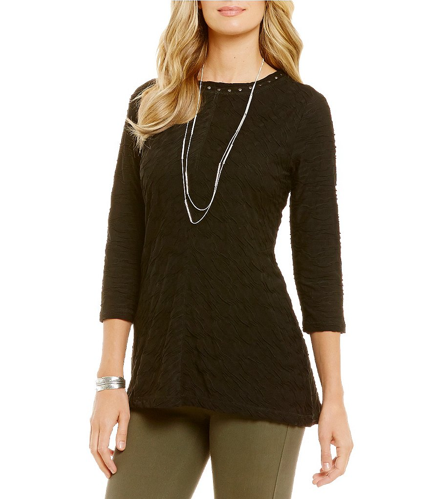 Westbound 3/4 Sleeve Seamed Textured Top