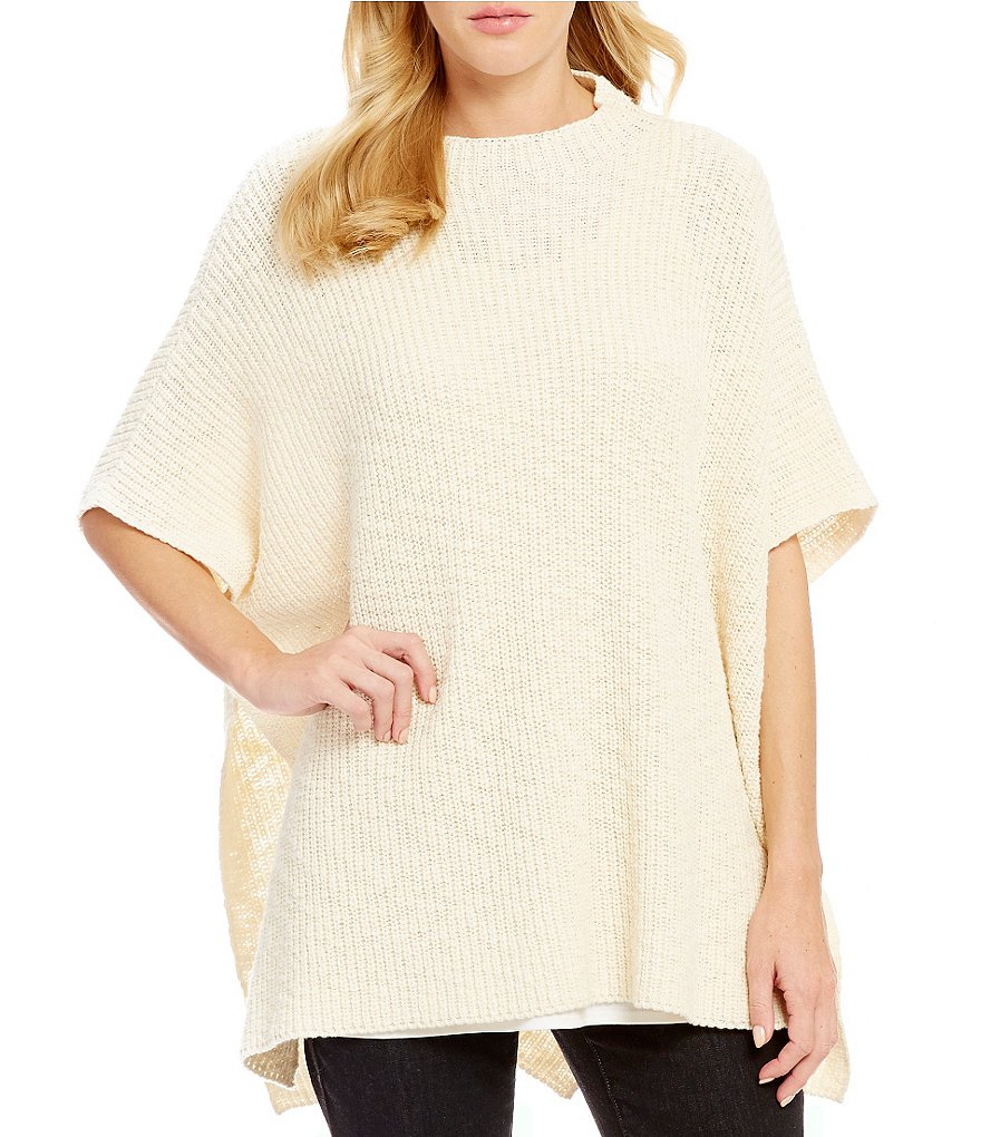 Eileen Fisher Funnel Neck Short Sleeve Solid Pocho