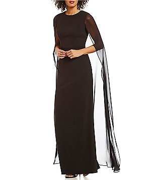 Calvin Klein Long Cape Chiffon Sleeveless Gown