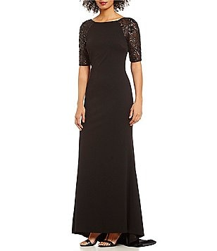 Calvin Klein Sequin-Sleeve A-Line Gown
