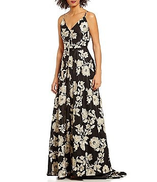 Calvin Klein Spaghetti-Strap Floral-Embroidered Gown