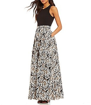 Calvin Klein Floral Sequined X-Back Sleeveless Ballgown