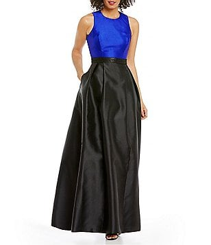 Calvin Klein Colorblock Sleeveless X-Back Taffeta Ballgown