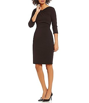 Calvin Klein Matte Jersey 3/4 Sleeve Sheath Dress