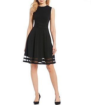Calvin Klein Round Neck Sleeveless Illusion-Hem Crepe Fit-and-Flare Dress