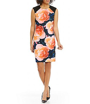 Calvin Klein Cap-Sleeve Bold Floral Sheath Dress
