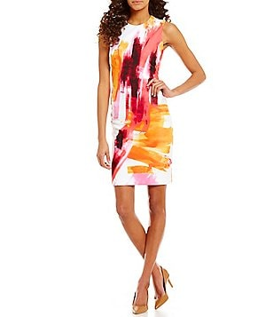 Calvin Klein Brushstroke-Print Scuba Sleeveless Sheath Dress