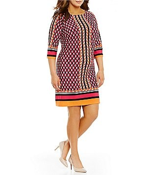 Calvin Klein Plus Round Neck 3/4 Sleeve Geo-Print Jersey Shift Dress