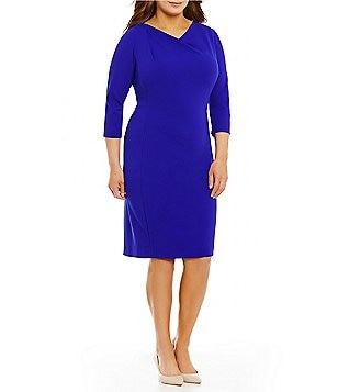 Calvin Klein Plus Draped Cowl Neck 3/4 Sleeve Solid Sheath Dress