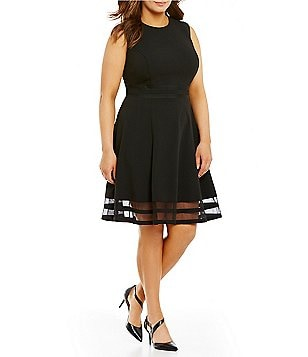 Calvin Klein Plus Round Neck Sleeveless Illusion-Hem Crepe Fit-and-Flare Dress