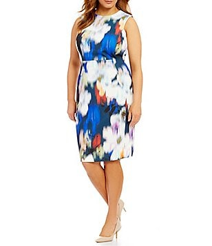 Calvin Klein Plus Printed Scuba Crepe Sheath Dress