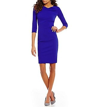 Calvin Klein Petite Cowl Neck 3/4 Sleeve Ruched Sheath Dress