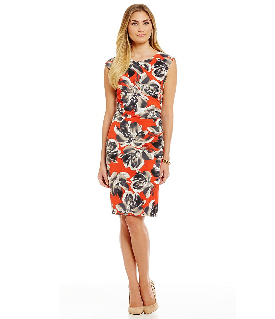 Leslie Fay Floral Draped Jersey Dress