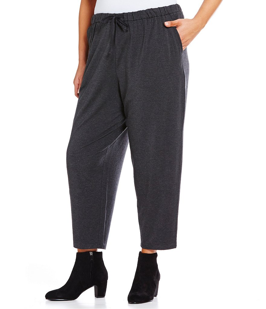 Eileen Fisher Plus Slouchy Jersey Ankle Pants