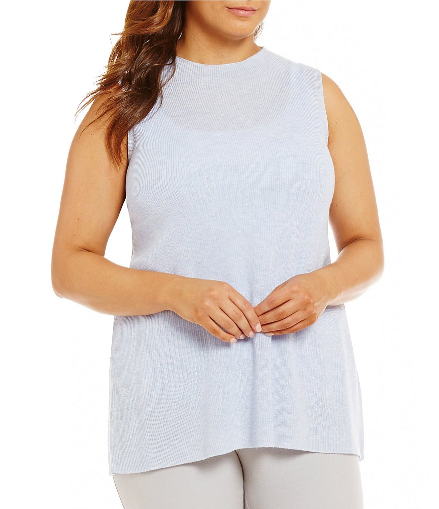 Eileen Fisher Plus Mock Neck Sleeveless Solid Top