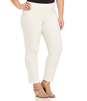 Eileen Fisher Plus Slim Stretch Crepe Solid Ankle Pants
