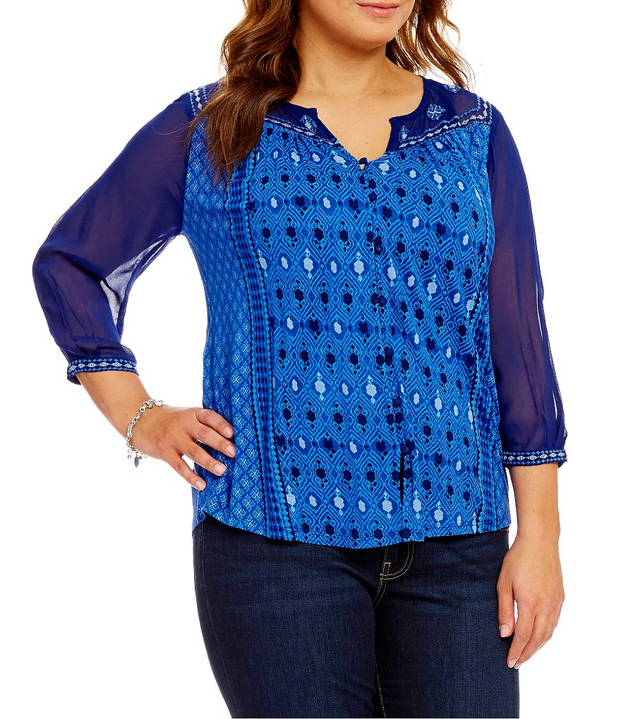Lucky Brand Plus 3/4 Sleeve Border Print Peasant Top